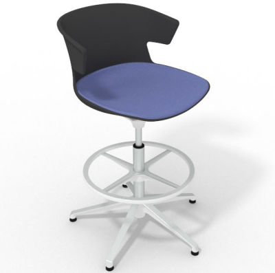 Elegante Height Adjustable Drafting Stool - With Large Seat Pad Anthracite Light Blue White