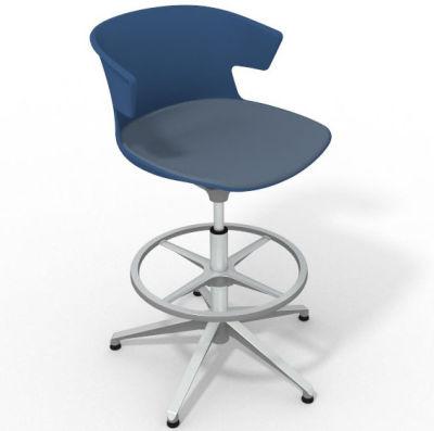 Elegante Height Adjustable Drafting Stool - With Large Seat Pad Blue Pidgeon Blue Aluminium