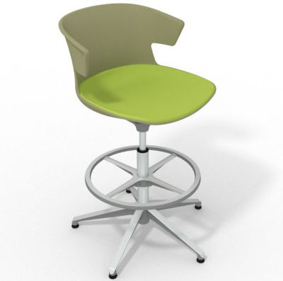 Elegante Height Adjustable Drafting Stool - With Large Seat Pad Green Light Green Aluminium