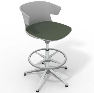 Elegante Height Adjustable Drafting Stool - With Large Seat Pad Grey Dark Green Aluminium