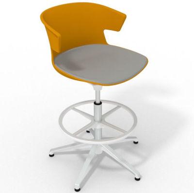 Elegante Height Adjustable Drafting Stool - With Large Seat Pad Orange Grey White