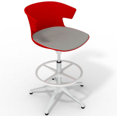 Elegante Height Adjustable Drafting Stool - With Large Seat Pad Red Grey White