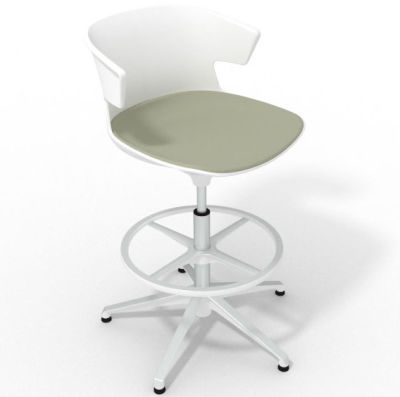 Elegante Height Adjustable Drafting Stool - With Large Seat Pad White Grey Olive White