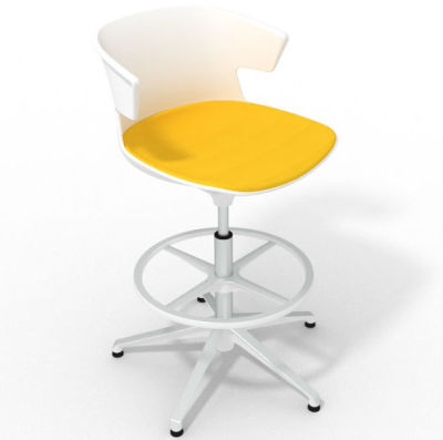 Elegante Height Adjustable Drafting Stool - With Large Seat Pad White Yellow White