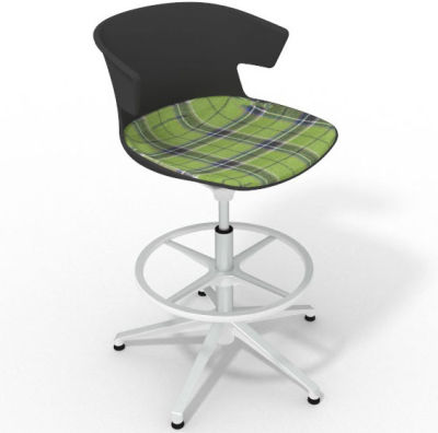 Elegante Height Adjustable Drafting Stool - With Large Feature Seat Pad Anthracite Green White