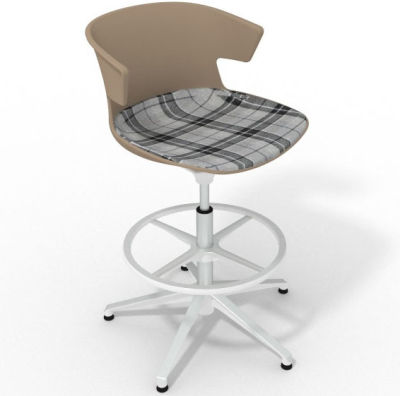 Elegante Height Adjustable Drafting Stool - With Large Feature Seat Pad Beige Grey White