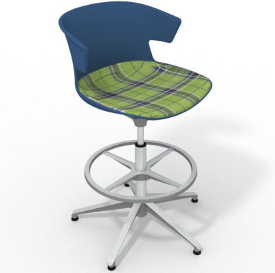 Elegante Height Adjustable Drafting Stool - With Large Feature Seat Pad Blue Green Aluminium