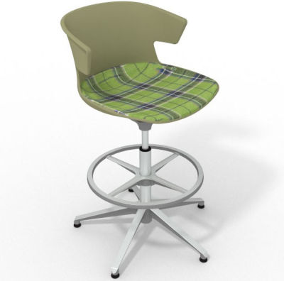 Elegante Height Adjustable Drafting Stool - With Large Feature Seat Pad Green Green Aluminium
