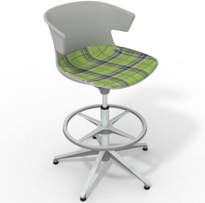 Elegante Height Adjustable Drafting Stool - With Large Feature Seat Pad Grey Green Aluminium