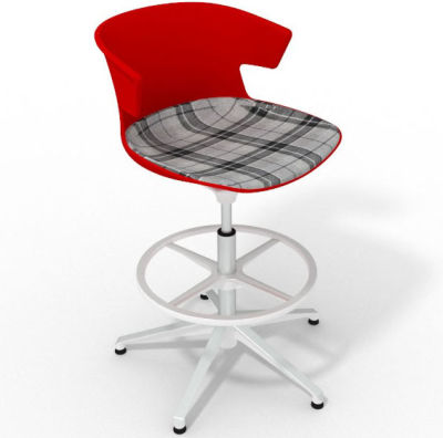 Elegante Height Adjustable Drafting Stool - With Large Feature Seat Pad Red Grey White