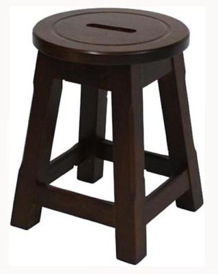 Modeno Natural Button Top Low Stool - Walnut