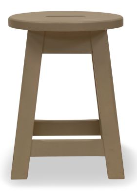 Modeno Paint Button Top Low Stool Cream Front View