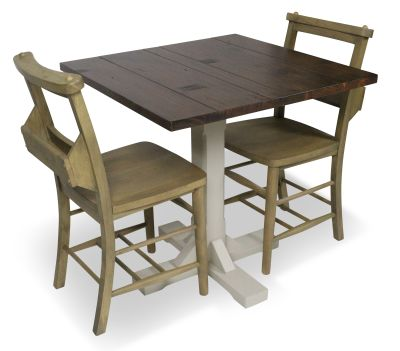 Church Chair And Table Set Top View Weathered Oak
