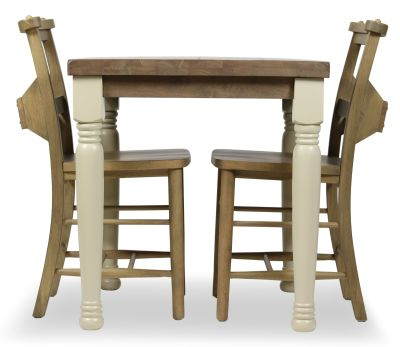 Church Dining Chair And Table Set 4 Side View Weathered Oak Chairs Cream Legs