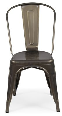 Tolix Next Day Chair In Gun Metal Front View