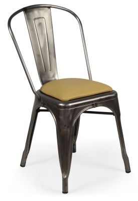 ;Tolix V2 Gun Metal Chair With Leather Seat Pad Front Angle