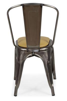 Tolix Gun Metal Chair Rera View Leather Seat