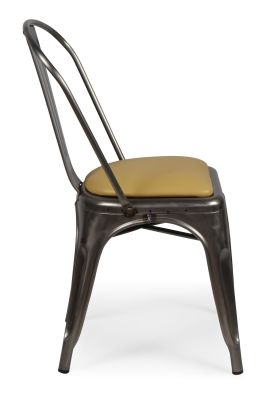 Tolix Gun Metal Chair With Leather Seat Side View