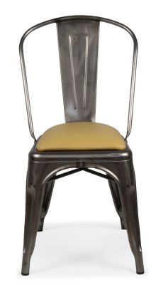 Tolix Gunm Metal Chair With Leather Seat Pad Front View