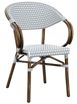 Bibat Continental Armchair Pacif Blue And White Weave