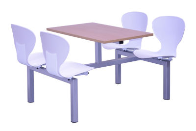 Campbell Fast Food Units With White Seats And A Silver Frame