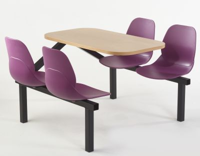 Mylo Four Setare Fast Food Unit With Plum Coloured Seats And A Beech Top