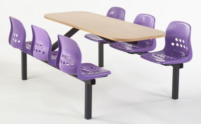 Paint Pot Six Seater With Purple Seats And A Beech Top