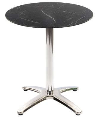 Trieste Outdoor Table With A BLack Marble Round Top