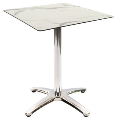 Trieste Table With A Square White Marle HPL Laminate Top