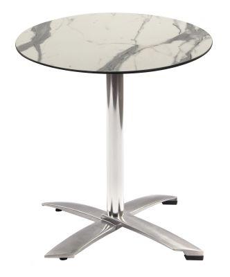 Kriss Kross HPL Flip Top Table Wit A Round Whitye Marble Hpl Top