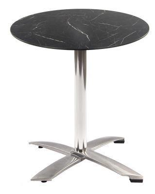 Kriss Kross Outdoor HPL Folding Table With A Round Black Marble HPL Top