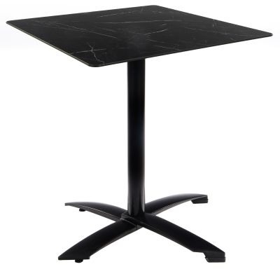 Kriss Kross Table With A Black Table Basr And Sqauare Black Marble Effect HPL Table Top