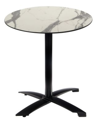 Kriss Kroos Flip Top Table With A Black Base And Round White Marble Effct HPL Top