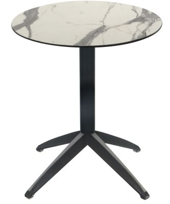 Sonya Designer Flip Top Table With A White Marble Hpl Top And Anthracite Base