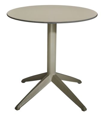 Sonya Designer Table With A Taupe Base And Taupe HPL Laminate Circular Table Top