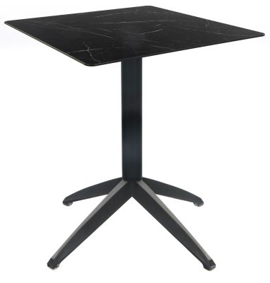 Sonya Outdoor Flip Top Table With A Black Marble HPL Top And Anthracite Table Base