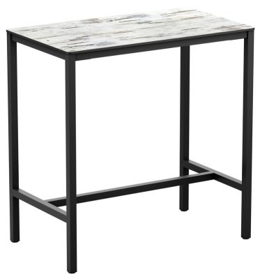 Mode Bar Height Rectangul;ar Poseur Table With A White Marble Totop