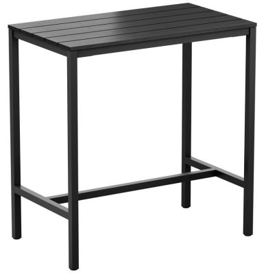 Mode Rectangular Outdoor Bar Height Table Withj A A Black Imitation Wooden Top