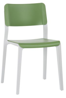 Marq Chair Green Seat And Back With A Light Grey Frame Front Angle View