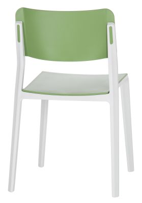 Marq Chair With A Green Seat And Back And Light Grey Frame Rear Angle
