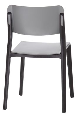 Marq Chair With A Grey Seat And Back And Bl;ack Frame Rear Angle