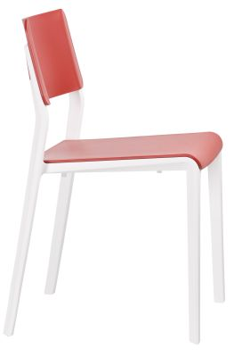 Marq Chair With A Red Seat And Back And White Frame Side View