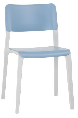 Marq Chair With A Light Blue Seat And Back Snd Light Grey Frame Front Angle View