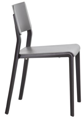 Marq Chair With A Ligt Grey Seat And Back And Black Frame Side View