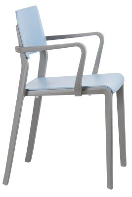 Marq Armchair With A Sky Blue Seat And Back Side View