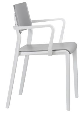Marq Armchair Witha Grey Seat And Back And Light Grey Frame Side Vieww