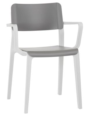 Marq Poly Armchair With A Greuy Seat And Back And Light Grey Frame Front Angle