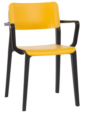 Marq Poly Armchair With A Yellow Seat And Back Front Angle View
