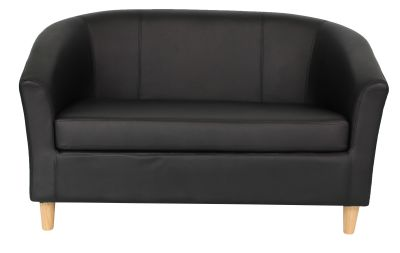 Tritium Next Day Sofa In Black Leather Front View