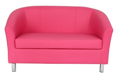 Tritium Leather Sofa In Pink With Chrome Feet Front View